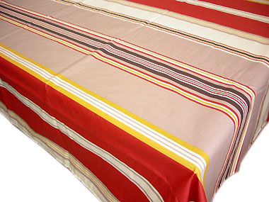 French Basque tablecloth, coated (Pastel. light grey x bordeaux)
